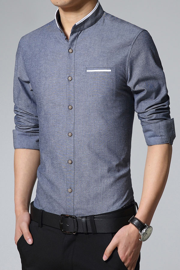 Stand Collar Shirts Designs : Denim blue stand collar men shirts item no mllc
